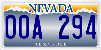 NV license plate 00A294
