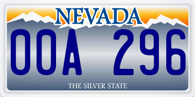 NV license plate 00A296