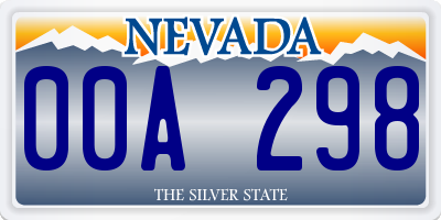 NV license plate 00A298
