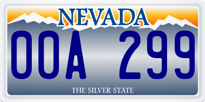 NV license plate 00A299