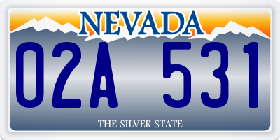 NV license plate 02A531