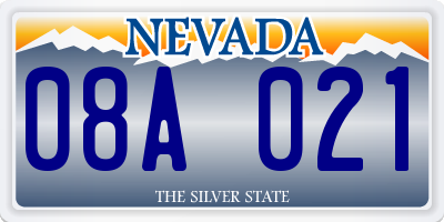 NV license plate 08A021