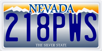 NV license plate 218PWS