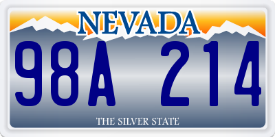 NV license plate 98A214