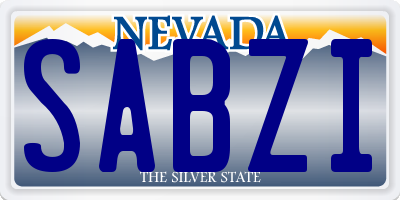 NV license plate SABZI