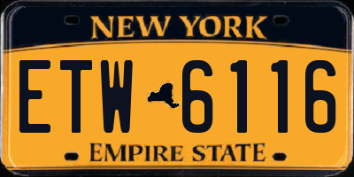 NY license plate ETW6116