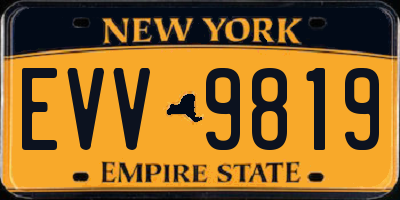 NY license plate EVV9819