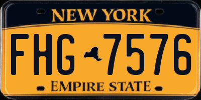 NY license plate FHG7576