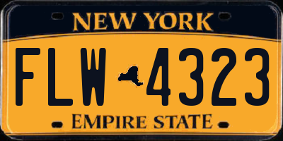 NY license plate FLW4323