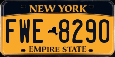 NY license plate FWE8290