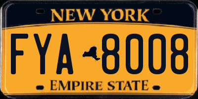 NY license plate FYA8008