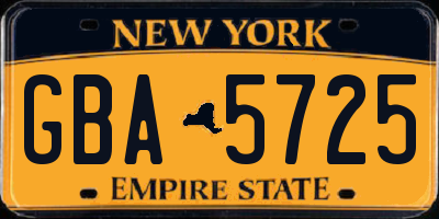 NY license plate GBA5725