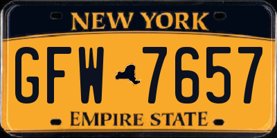 NY license plate GFW7657