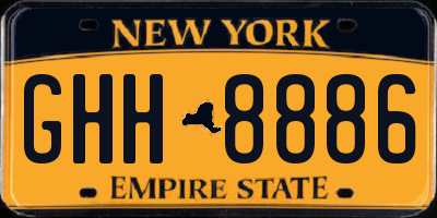 NY license plate GHH8886