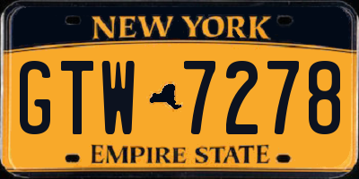NY license plate GTW7278