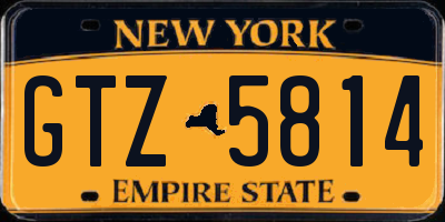 NY license plate GTZ5814