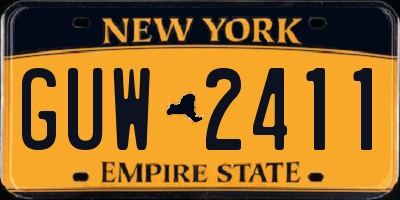NY license plate GUW2411