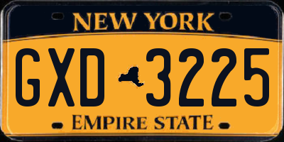 NY license plate GXD3225