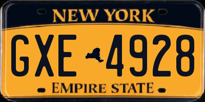 NY license plate GXE4928