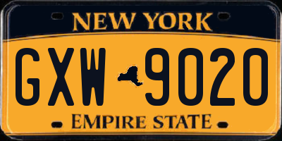 NY license plate GXW9020