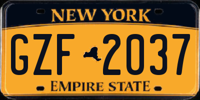 NY license plate GZF2037