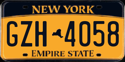 NY license plate GZH4058