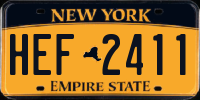 NY license plate HEF2411