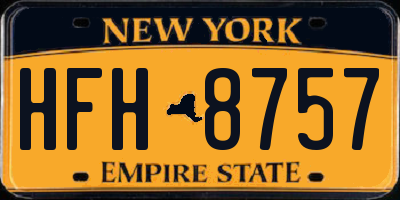 NY license plate HFH8757