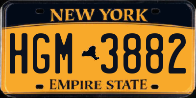 NY license plate HGM3882
