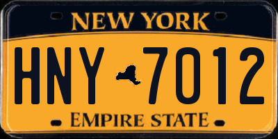 NY license plate HNY7012