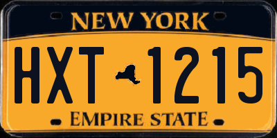 NY license plate HXT1215
