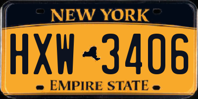NY license plate HXW3406