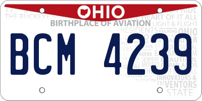 OH license plate BCM4239
