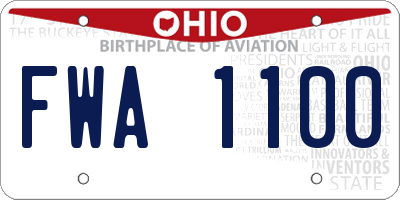 OH license plate FWA1100