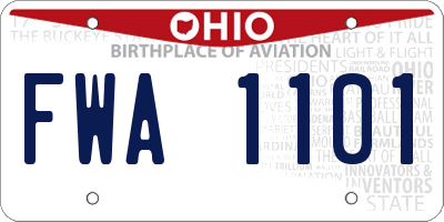OH license plate FWA1101