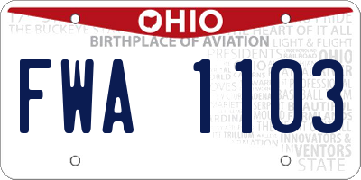 OH license plate FWA1103
