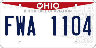 OH license plate FWA1104