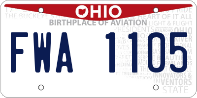 OH license plate FWA1105