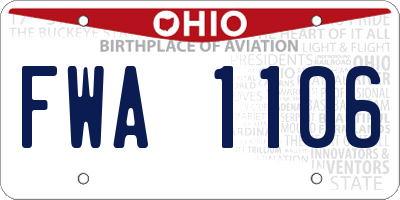 OH license plate FWA1106