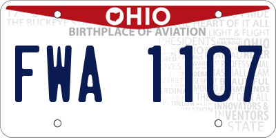 OH license plate FWA1107