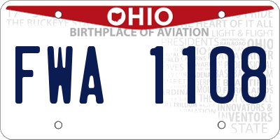 OH license plate FWA1108