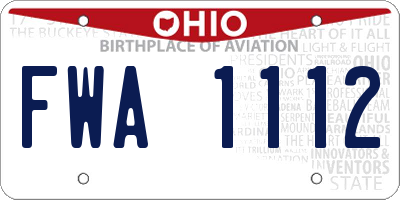 OH license plate FWA1112