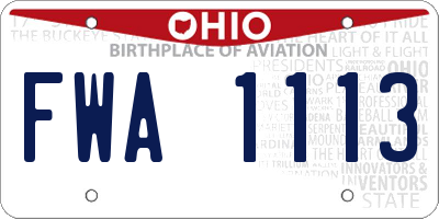 OH license plate FWA1113