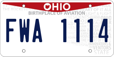 OH license plate FWA1114