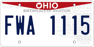 OH license plate FWA1115