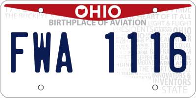 OH license plate FWA1116