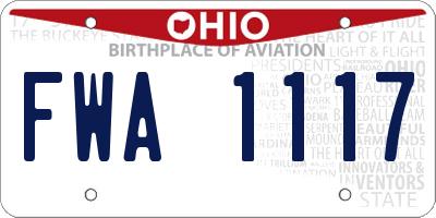 OH license plate FWA1117