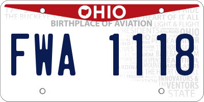 OH license plate FWA1118