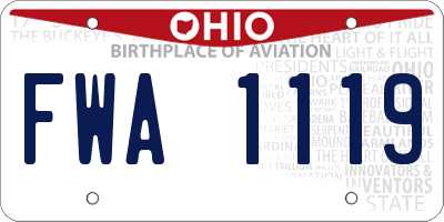 OH license plate FWA1119
