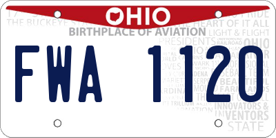 OH license plate FWA1120